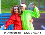two positive and smiling... | Shutterstock . vector #1223976145