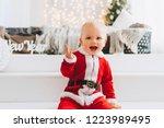very cute caucasian little...   Shutterstock . vector #1223989495