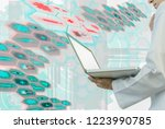 medical doctor holding  laptop... | Shutterstock . vector #1223990785