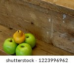 apples and pears on wooden...   Shutterstock . vector #1223996962