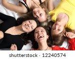 close  up. four girls friends... | Shutterstock . vector #12240574