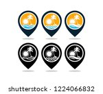 set vector pin map location... | Shutterstock .eps vector #1224066832