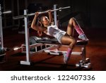 beautiful girl in sports to a... | Shutterstock . vector #122407336