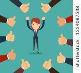 many hands congratulate a... | Shutterstock .eps vector #1224087538