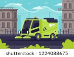 street cleaning machine at work ...   Shutterstock .eps vector #1224088675