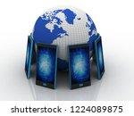 3d rendering transmitter mobile ... | Shutterstock . vector #1224089875