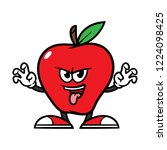 cartoon scaring apple character | Shutterstock .eps vector #1224098425