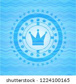 crown icon inside water wave... | Shutterstock .eps vector #1224100165