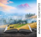 carpathian misty mountains with ... | Shutterstock . vector #1224110722