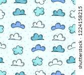 doodle cloud seamless pattern | Shutterstock .eps vector #1224158215