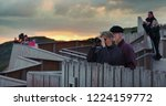 whale watchers watching whales... | Shutterstock . vector #1224159772