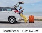 young asian woman traveler... | Shutterstock . vector #1224162325