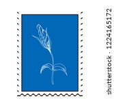 postage stamp with flower. flat ... | Shutterstock .eps vector #1224165172