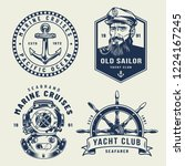 vintage monochrome sea and... | Shutterstock .eps vector #1224167245
