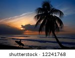 Silhouette Of A Surfer At The...