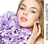 beautiful young blonde woman... | Shutterstock . vector #1224180778
