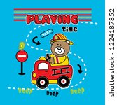 Playing Time Bear  Vector...