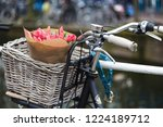 basket with tulips on a bike at ... | Shutterstock . vector #1224189712