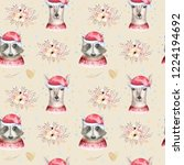 set of christmas woodland cute...   Shutterstock . vector #1224194692