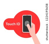 hand holding phone like touch...   Shutterstock .eps vector #1224195658