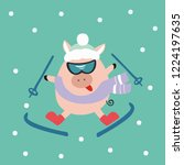 crazy pig on skis. the theme of ... | Shutterstock .eps vector #1224197635