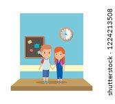little school kids couple in... | Shutterstock .eps vector #1224213508