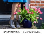 on the threshold of the house a ... | Shutterstock . vector #1224219688