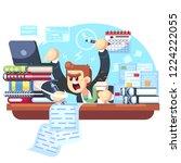 man overwork in office ... | Shutterstock .eps vector #1224222055