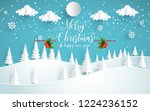 winter scenery with pine... | Shutterstock .eps vector #1224236152