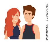 young couple avatars characters | Shutterstock .eps vector #1224239788