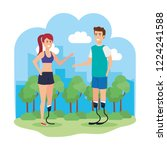couple with foot prosthesis | Shutterstock .eps vector #1224241588