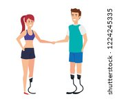couple with foot prosthesis | Shutterstock .eps vector #1224245335