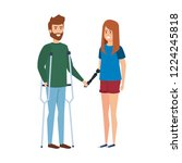 man with crutches and woman... | Shutterstock .eps vector #1224245818
