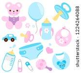 baby girl and baby boy...   Shutterstock . vector #1224264088