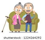 lovely senior couple sitting on ... | Shutterstock .eps vector #1224264292