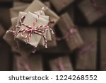 small gift box on top of a pile ... | Shutterstock . vector #1224268552