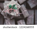 small gift box on top of a pile ... | Shutterstock . vector #1224268555