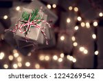 small gift box on top of a pile ... | Shutterstock . vector #1224269542