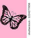 beautiful pink butterfly insect ... | Shutterstock .eps vector #1224277858