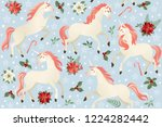 unicorns on a christmas floral... | Shutterstock .eps vector #1224282442