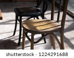 close up wooden chair seat with ... | Shutterstock . vector #1224291688
