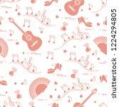 seamless pattern with fan ... | Shutterstock .eps vector #1224294805