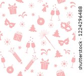 seamless pattern with new year... | Shutterstock .eps vector #1224296488