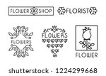 flower shop logo set  design... | Shutterstock .eps vector #1224299668