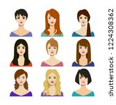 cartoon woman trendy hairstyles ... | Shutterstock .eps vector #1224308362