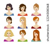 cartoon color woman hairstyles... | Shutterstock .eps vector #1224308368