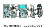 retro science. cyberpunk robots ... | Shutterstock .eps vector #1224317095