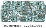 retro science. cyberpunk robots ... | Shutterstock .eps vector #1224317098