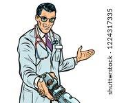 doctor handshake to robot ... | Shutterstock .eps vector #1224317335