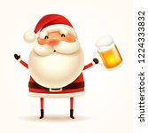 santa claus with beer. isolated. | Shutterstock .eps vector #1224333832